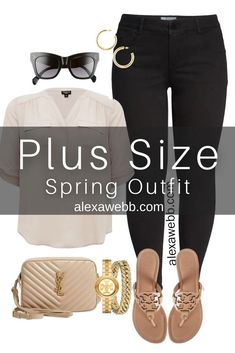 Plus Size Spring Outfit Idea from a Capsule with Black Skinny Jeans, a Taupe Top, Beige YSL Crossbody Bag, and Tory Burch Miller Sandals - Alexa Webb