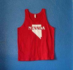 Nevada tank top red by imaginaryvisualarts on Etsy