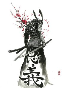 Ink & Watercolor Arts by Jongkie Japanese Warrior Tattoo, Japanese Tattoo Symbols, Japanese Tattoo Designs, Japanese Tattoo Art, Samurai Tattoo, Samurai Drawing, Samurai Artwork, Ronin Tattoo, Japanese Art Samurai