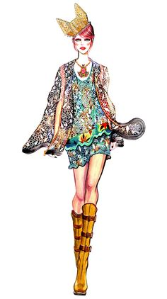 Fashion Illustrator: Sunny Gu  Medium: Watercolours   I like the vibrant colours used and the mirrored- like effect on the garment.