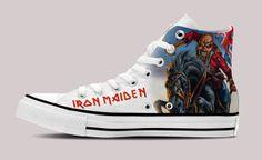 5b9ca2773494 Iron Maiden Hi-Top White Unisex Trainers