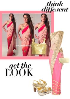 'karinalook' by me on Limeroad featuring Pink Sarees, Gold Blouses, Gold Sandals with Gold Wallets Gold Blouse, Pink Saree, Gold Sandals, Prom Dresses, Formal Dresses, Get The Look, Sarees, Wallets