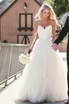 Simple Spaghetti Straps Layers Tulle Ball Gown Wedding Dress - Shedressing.com