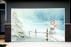 Christmas Tree Snowman Garage Door Covers 3d Banners Outside House Decorations Outdoor GD37