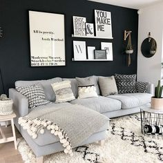 Love the dark wall. ❤ Love the dark wall. ❤ Love the dark wall. ❤ Love the dark wall. Living Room Grey, Home Living Room, Apartment Living, Interior Design Living Room, Living Room Designs, Cozy Apartment, Scandi Living Room, Studio Apartment, Urban Apartment