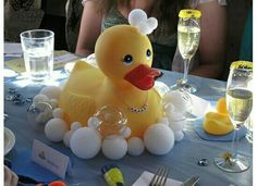 Duck centerpiece with bubbles