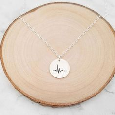 Heartbeat Necklace Handmade Jewelry, Handmade Items, Rose Gold Chain, Disc Necklace, In A Heartbeat, Or Rose, Gift Guide, Initials, Sterling Silver