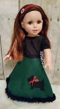 Exclusive Crafty Girl design! Wrap around skirt embellished with Scottie Dog, t-shirt and purse. Fits 18 inch dolls, AG