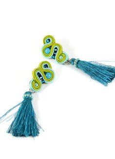 Kup mój przedmiot na #vintedpl http://www.vinted.pl/akcesoria/bizuteria/18193628-kolczyki-sutasz-z-fredzelkami-turkus-limonka-chwosty-aspazja