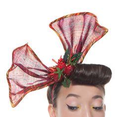 Wild Berry Pin-Up Bow 1950's Pink Plaid Headband by MaorZabarHats