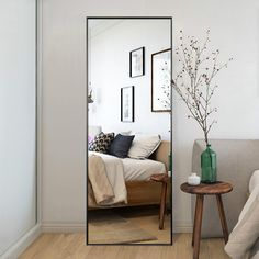 Trvone Full Length Mirror Floor Mirror, Large Rectangle Bedroom Mirror Dressing Mirror Wall-Mounted Mirror, Standing Hanging or Leaning Against Wall, 65 Full Length Mirror In Bedroom, Full Length Floor Mirror, Mirror Floor, Large Bedroom Mirror, Full Body Mirror, Bedroom Mirrors, Large Wall Mirrors, Wall Mirror Ideas, Oversized Floor Mirror