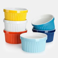 OverviewClassic design, glazed in vibrant colors, these versatile Sweese ramekins are designed for everyday use relaxed meals with family & friends. Use them to bake gratins, soufflés, muffins and more.More DetailsColor: MulticoloredMaterial: PorcelainSet of 6Size: 8 ounce, 4 x 2.1 inchesUse Microwave, dishwasher, oven safe Lead free, food safe Perfect for baking desserts and serving jams or dipping sauce. Care To clean, simply wipe ramekins with a soft damp cloth Avoid using cleanser with c Kitchen Torch, Kitchen Herbs, Creme Brulee Dishes, Aqua Kitchen, Kitchen Dining, Ice Cream Set, Souffle Dish, Blueberry Crumble, Wine Tasting Party