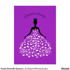 Purple Butterfly Quinceanera Ball Gown Invitation