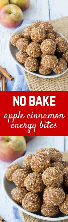 These apple cinnamon no bake energy bites are fun, filling, and could not be any easier to make. They're great for school lunch boxes, too! Protein Snacks, Healthy School Snacks, Easy Snacks, Healthy Treats, Protein Bites, School Lunches, High Protein, Ceviche, Snack Recipes