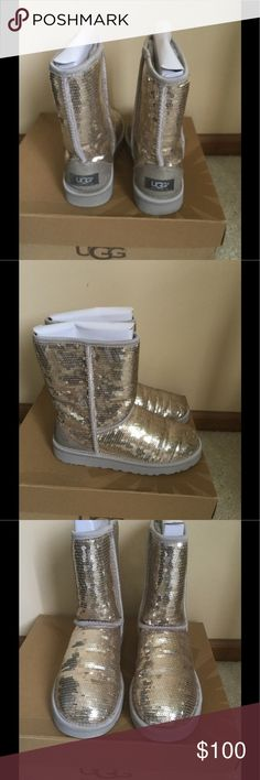 UGG genuine sheepskin silver / yellow short boots Worn 2 times . Like new condition , comes with box . Authentic . ❌Price firm UGG Shoes Winter & Rain Boots