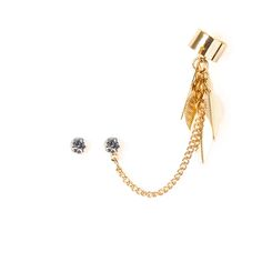 Crystal Earrings and Chain with Dangling Leaves Ear Cuff | Claire's