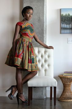 African clothing, Chreese Dashiki Dress, African Ankara Dress; African Red/Green…