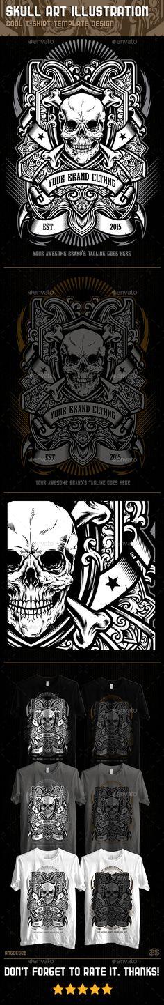 Skull Art Illustration Tshirt Template Design