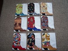 Nine 8 x 10 Cowboy Boot Quilt Top Pieced Block Western Cowgirl Made in Utah | eBay