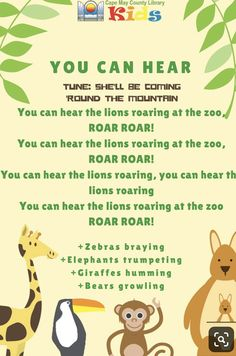 and baby animals A fantastic action song for storytimes of all ages! A fantastic action song for storytimes of all ages! Babies and toddlers will love it as a lap bounce and older kids enjoy acting out familiar animals. Zoo Preschool, Preschool Music, Preschool Learning, Preschool Activities, Preschool Movement Songs, Jungle Preschool Themes, Transition Songs For Preschool, Zoo Songs, Baby Songs