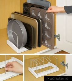 Idée n°10 - Organisez les couvercles, planches et plaques avec ce rangement  http://www.homelisty.com/objets-gain-de-place-petite-cuisine/