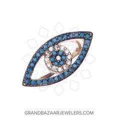 Customize & Buy 925 Silver Evil Eye Rings Online at Grand Bazaar Jewelers