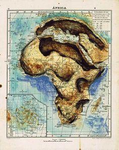 Atlas Art by Fernando Vicente Book Page Art, Skull Logo, Atlas, Africa Map, Motorcycle Art, Cartography, Creative Words, Map Art, Art Music