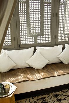 Moroccan {modern} style. Natural materials, wood, cotton and metal.