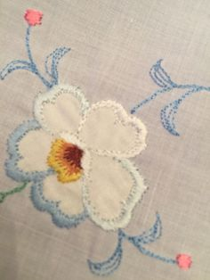 French inspired vintage round embroidered table cloth with scalloped edging