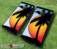 Have fun at the beach with these Sunset Cornhole boards! Order yours at www.ajjcornhole.com