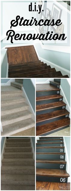 DIY Staircase Makeover Removing carpet from stairs and replacing it with wood stair treads is totally doable. This DIY staircase makeover was accomplished in a weekend and looks like a professional job! Proof that a staircase remodel can be a DIY job. Home Improvement Projects, Home Projects, Removing Carpet From Stairs, Carpet Stairs, Stairs With Wood And Carpet, Wood Stair Treads, Replacing Stair Treads, Hardwood Stairs, Hardwood Floors