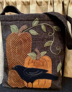 Wool Applique Pattern – Night Watchman Tote – Choice of Pattern Only or Pattern with Wool Kit – 2019 - Wool Diy Wool Applique Quilts, Fall Applique, Wool Applique Patterns, Wool Quilts, Wool Embroidery, Wool Fabric, Applique Pillows, Christmas Applique, Felt Patterns