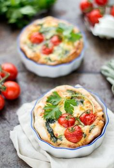 Mini quiche with spinach and goat cheese - Mini quiche with spinach and goat cheese. A delicious 1 person quiche that is too tasty to share!