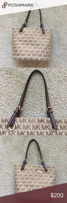 MK Tote New bag with the tag. One side has a pocket. Dark chocolate brown handles. The MK signature is in brown with a tan background. Michael Kors Bags Totes