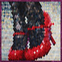 """I would like to introduce you my contest quilt """"Red Shoes"""" that consists of 1236 pieces. The quilt is hand pieced. The finished size of diamonds is 7/8 inches. The size of the quilt is 27x27"""""""