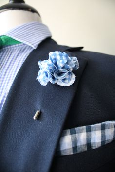White and Brown Plaid Lapel Flower Pin by The Accessorized Man Green Blue