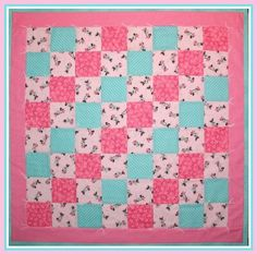 Baby Toddler Quilt made with Minnie Mouse Pink Aqua Polka Dots Turquo   originalsbycindy - Quilts on ArtFire
