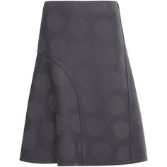 Nina Ricci Polka Dot Flared Skirt (69,405 PHP) via Polyvore featuring skirts, grey, gray skater skirt, grey polka dot skirt, gray skirt, skater skirt and dot skirt