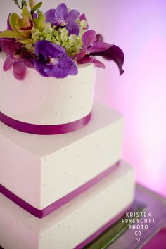 Purple & Magenta Floral Cake Topper. Wedding Planning & Design by Simply Wed.  www.simplywed.com
