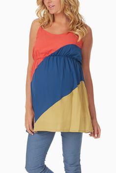Coral, Blue  Mustard Colorblock Maternity Tank Top #maternity #maternityfashion #cutematernityoutfits