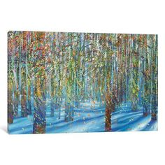 "Red Barrel Studio Snow Fall Painting Print on Wrapped Canvas Size: 12"" H x 18"" W x 0.75"" D"