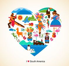 South America love - concept illustration with vector icons Royalty Free Stock Vector Art Illustration