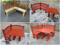 upcycled headboard corner bench and created table
