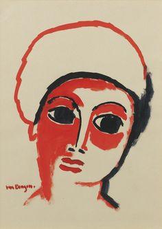"""""""Kees Van Dongen (Dutch, 1877-1968), Portrait de femme, 1907. Gouache on paper, 33.7 x 24.8 cm. """""""