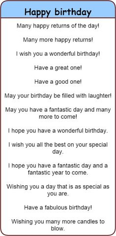 Fun and different ways to wish people 'happy birthday' in English. - Fun and different ways to wish people 'happy birthday' in English. 'Happy birthday' in 30 different languages. English Idioms, English Vocabulary Words, English Phrases, Learn English Words, English Lessons, English Fun, Sms Language, English Language Learning, Happy Birthday Quotes For Friends