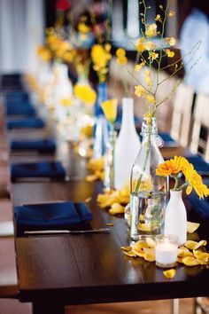 Lovely Yellow and Blue wedding tables with Rose Petals visit www. Lovely Yellow and Blue wedding tables with Rose Petals visit www.flyboynatural… and choose from 100 colors of petals. Wedding Songs, Wedding Themes, Wedding Colors, Wedding Decorations, Table Decorations, Wedding Ideas, Wedding Blue, Yellow Wedding Decor, Wedding Inspiration