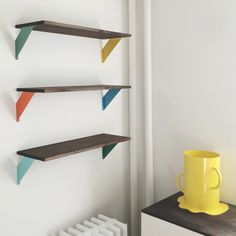 IKEA shelves + spray paint + stain