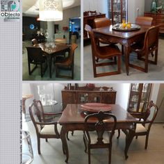 MESA antiga em madeira maciça... a mesa vintage ganha nova alma com cadeiras contemporâneas  https://www.facebook.com/objecta.segunda.mao/