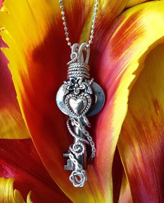 Wire Wrapped Antique Skeleton Key Necklace  Heart by JewelryFusion