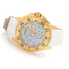 Invicta Women's Excursion Quartz Chronograph Leather Strap Watch w/ Three-Slot Dive Case ShopHQ.com
